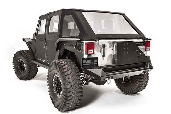 fab fours jeep tire carrier installed