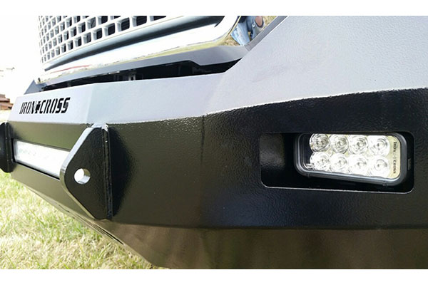 iron cross hd low profile front bumper light detail