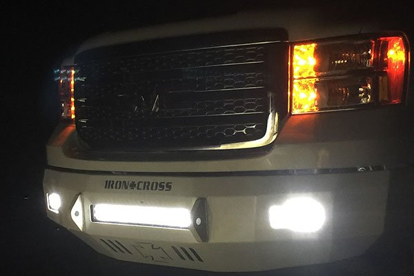 iron cross hd low profile front bumper lights on