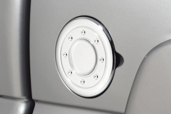 avs chrome fuel door covers on vehicle