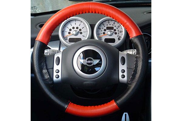 Wheelskins EuroPerf Red Black Perf on Mini Cooper Wheel