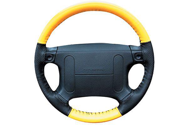 Wheelskins EuroPerf Yellow Black Perf on Mazda Wheel