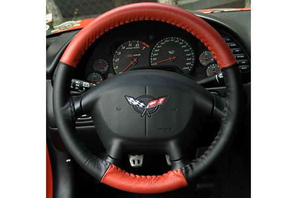 Wheelskins EuroTone Red Black on Corvette Wheel