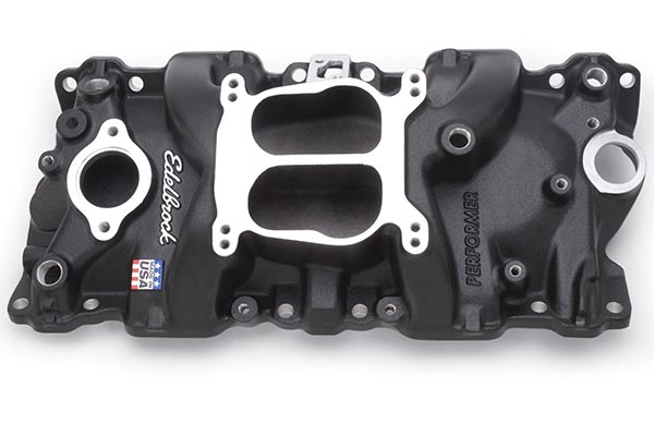 edelbrock performer intake manifolds black powder coat