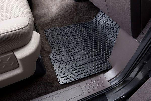 hexomat front driver side mat installed in black