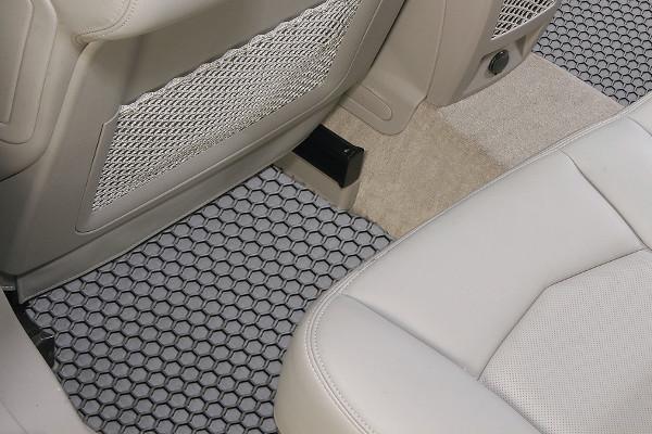 grey hexomat car mats installed in rear foot well