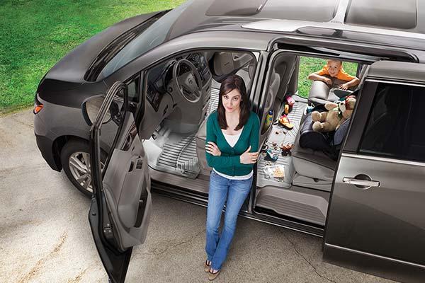 overhead view of weathertech floor liners in minivan
