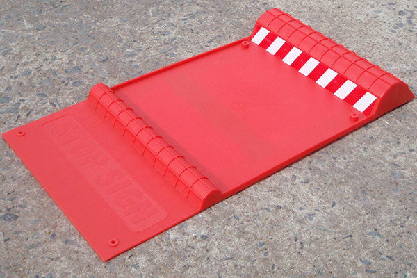 parking mats red on garage floor