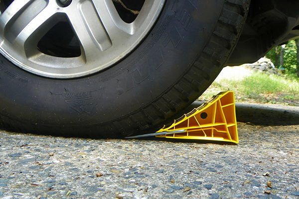 wheel chocks in use profile view