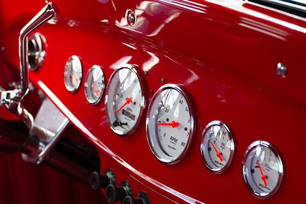autometer street rod arctic white gauges red dash lifestyle