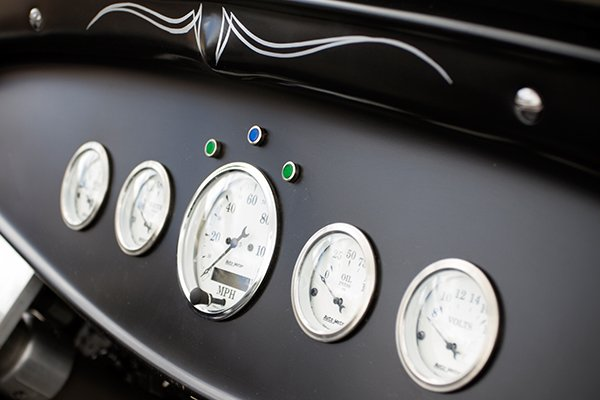 autometer street rod old tyme white ii gauges on black lifestyle