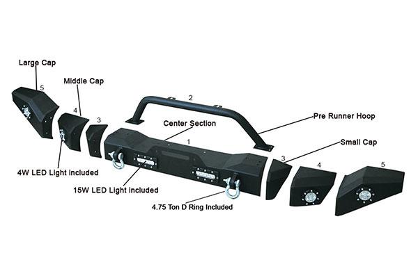 proz premium rock crawler jeep front bumper product
