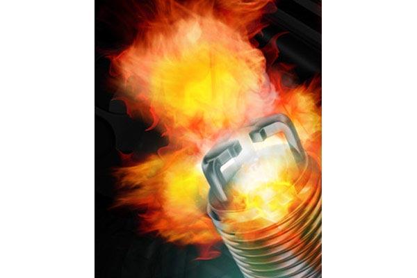 e3 spark plugs flame