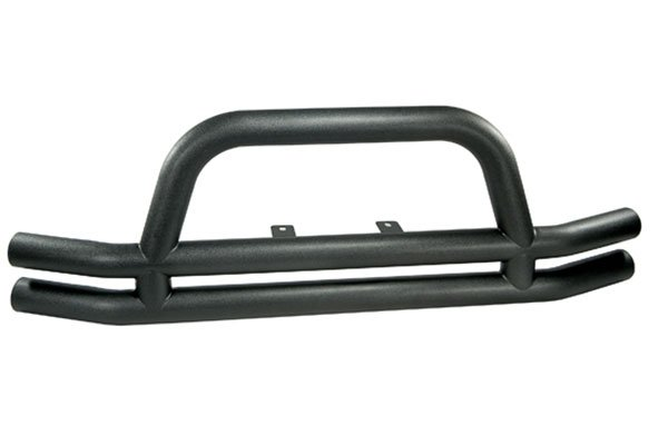 rugged ridge tube bumper front with riser textured