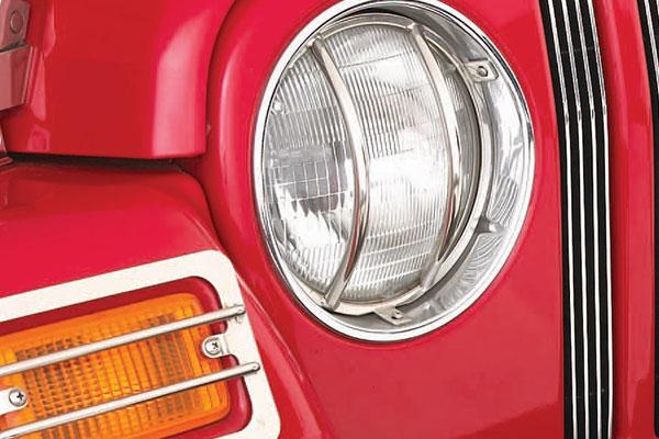 smittybilt jeep euro headlight guard stainless detail