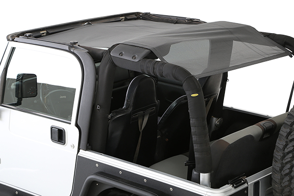 smittybilt cloak extended mesh top rear insetalled tj