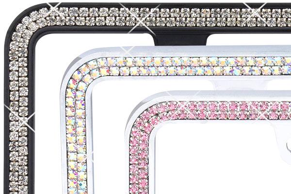 proz premium 2 row rhinestone icense plate frame detail