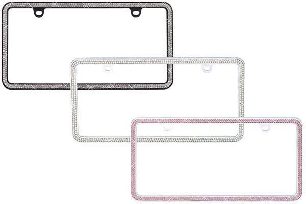 proz premium 2 row rhinestone icense plate frame rel1