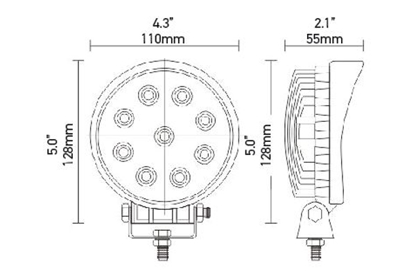 hella optilux round led work lamps dimensions
