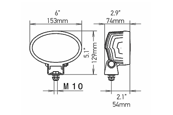 hella oval 100 led work lamps dimensions