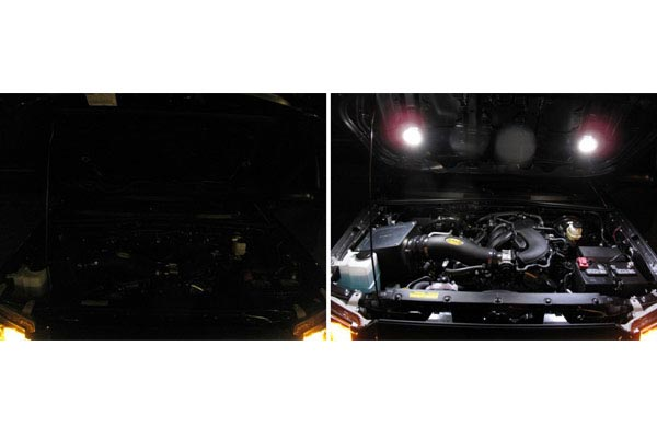 kc hilites cyclone led accessory lights installed under hood
