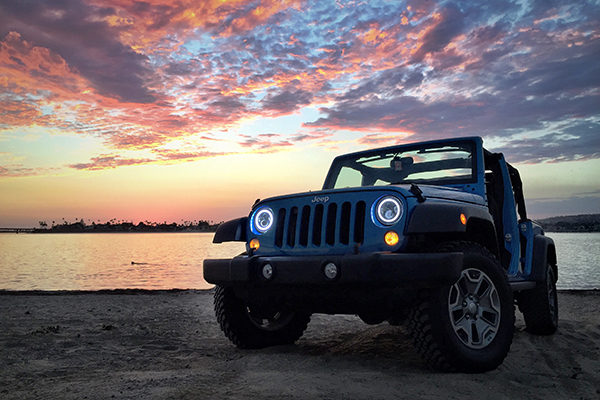 proz led replacement headlights on jeep on beach