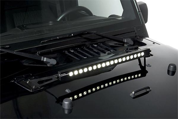 putco luminix led brackets wrangler hood detail