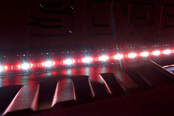 putco pure led tailgate light bar closeup reverse