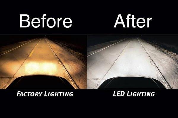 putco universal led headlight bulbs before after