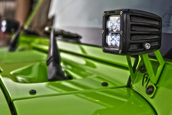 rigid industries a pillar light mount kits green rubicon detail