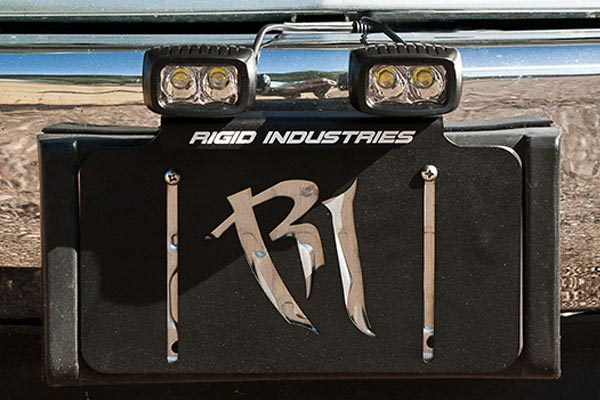 rigid industries license plate light mount bracket front view