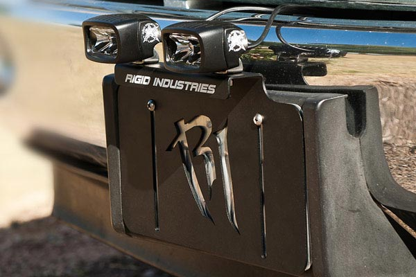 rigid industries license plate light mount bracket installed