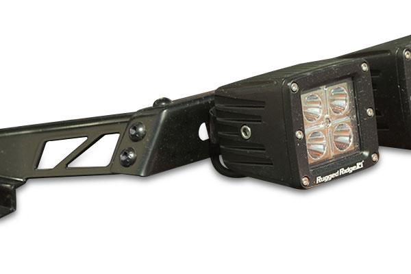 rugged ridge hood light bar detail