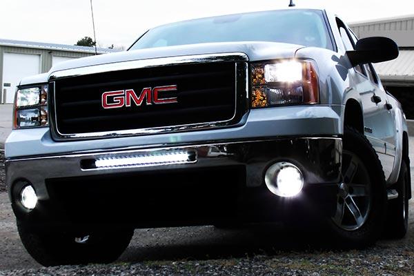 single row cree led light bars gmc bumper installed