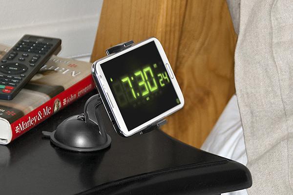 bracketron mi t grip smartphone dash mount on nightstand