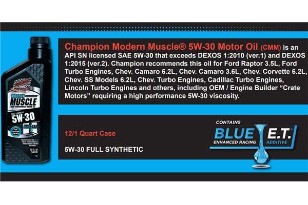 Champion 5w-30 Modern Muscle Oil Specs
