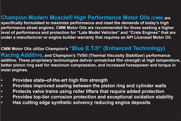 Champion Modern Muscle Motor Oil Features Chart
