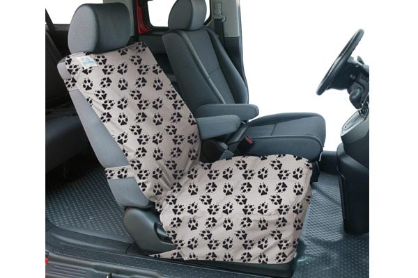 canine covers crypton paw print semi custom suede bucket seat cover installed