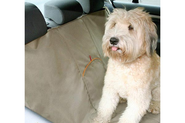 kurgo extended bench seat cover sitting dog