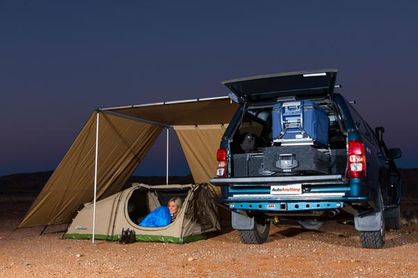 arb awning wind break night outback