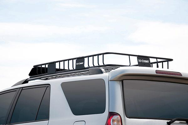 curt roof mounted cargo rack installed extension
