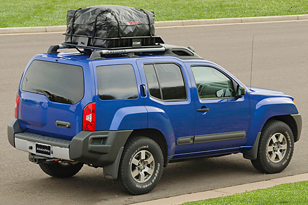 curt waterproof rooftop basket cargo bags installed