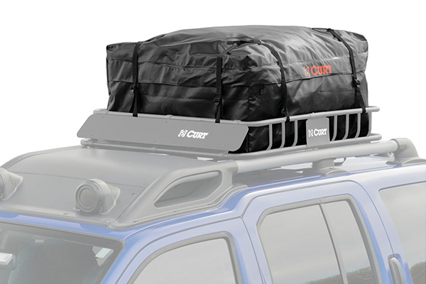 curt waterproof rooftop basket cargo bags on rack