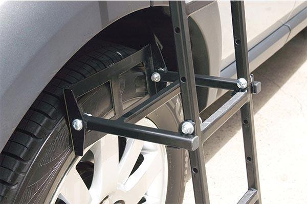 rhino rack folding ladder wheel closeup