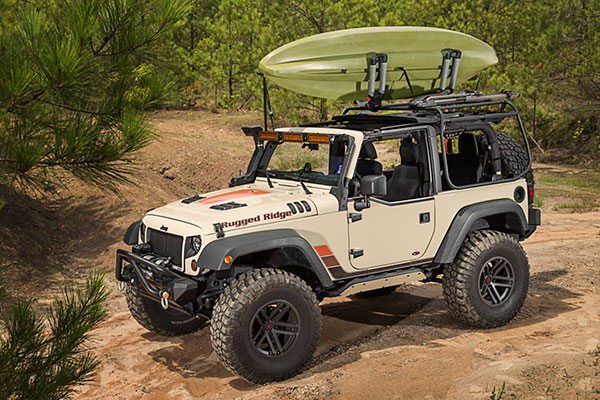 rugged ridge exo top cargo rack system loaded