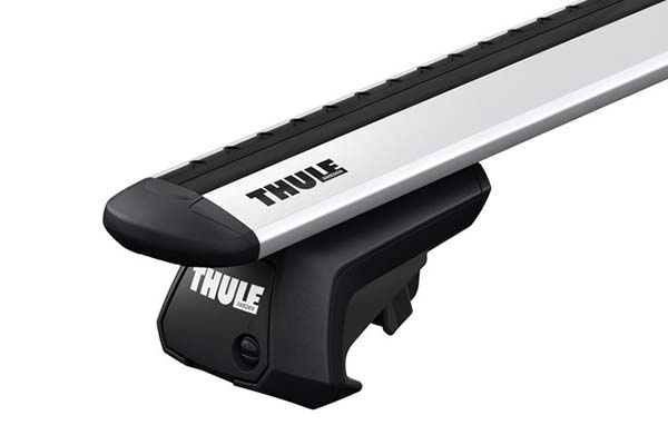 Close Up View of Thule Evo WingBar with Foot Pack Installed