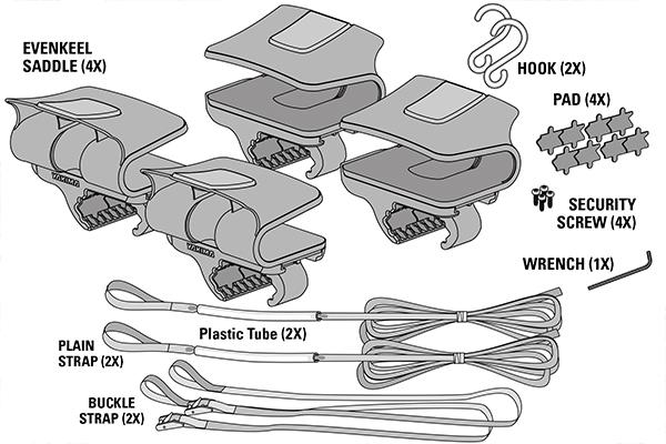 yakima evenkeel kayak rack kit includes