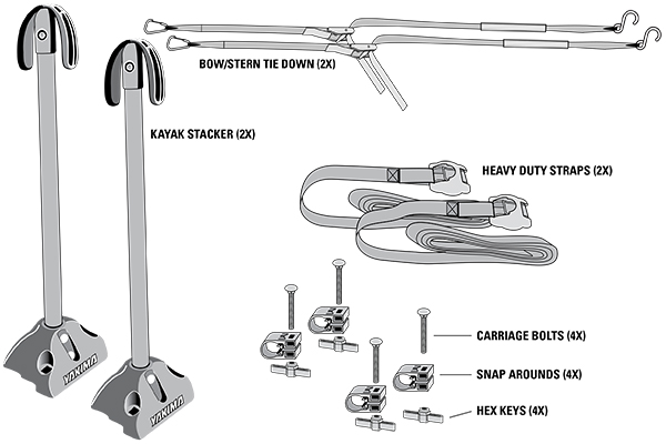 yakima kayak stacker kit includes