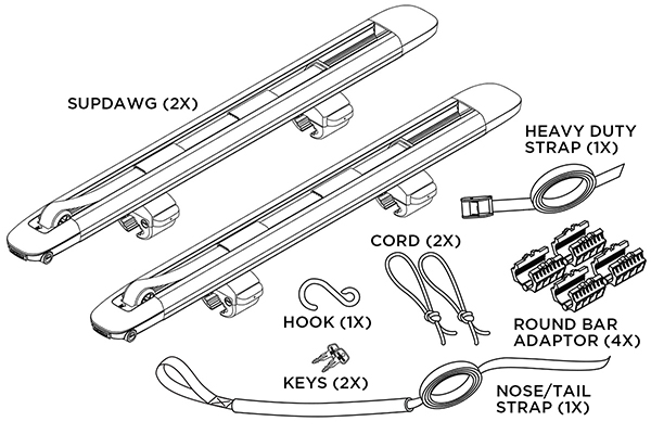yakima supdawg paddleboard rack kit includes