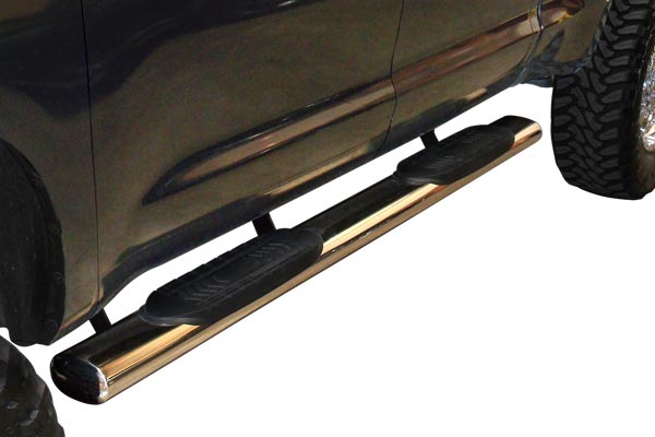6in premium oval nerf bars brown truck installed